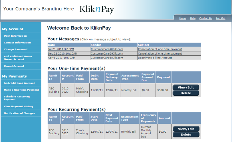KliknPay: After log-in, users are presented with account dashboard information.  The user screens can be private labeled upon request with such things as logos, colors and product name.